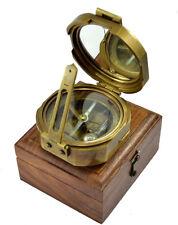 """Antique Quality Vintage Natural Sine 2.5"""" Heavy Brass Brunton Compass Steampunk"""