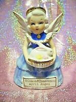 *SUPER RARE VTG Japan Blue Easter April Birthday Angel Girl Holds Bunny