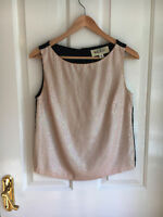 Trelise Cooper Sequin Pearly Top Vest Button Back US 6 AUS 8 Exc Cond Party Fun