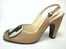 MIU MIU PUMPS Womens PEEP TOE Heels Tan Purple Bow Shoes US 6 /6.5 EU 36.5 $690