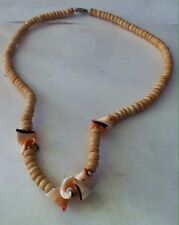 Beautiful Faux Puka Shell Beads with Curly Shell Accents Strand Bead Necklace