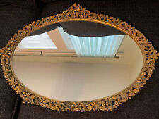 Vintage Matson Gold Platted Brass Dogwood Mirrored Vanity Tray