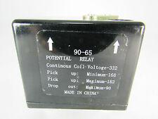 POTENTIAL RELAY 90-65 CONTINUOUS COIL VOLT=332, PICK UP MIN=168 MAX=182
