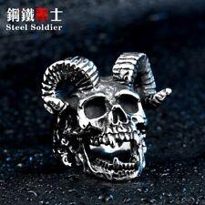Skull Ram Horns Ring Stainless Steel Statement Alchemy Sizes 7-13 Mens Womens