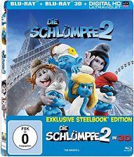 DIE SCHLÜMPFE 2 (Blu-ray 3D + Blu-ray Disc) Steelbook, Lenticularcover NEU+OVP