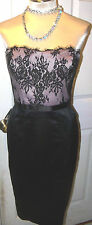 WHITE HOUSE BLACK MARKET-sz 12--LACE WITH PINK SATIN STRAPLESS DRESS --NWT