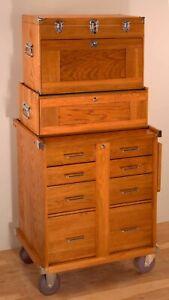Gerstner International GI-T24-M24-R24 3-Piece Oak Tool Chest Base Cabinet Set
