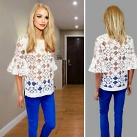 NEXT TOP SIZE 8 WHITE SHEER DETAIL COLLARLESS BELL SLEEVE #30