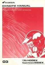 2003 Honda Trx400Ex SportTrax 400Ex Atv Owners Manual : 31Hn1640