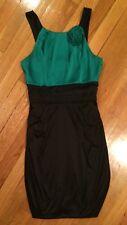 Teeze Me Ladies Women's Cocktail Dress Mini Green Black faux Satin Size Medium