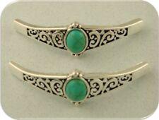2 Hole Beads Faux Turquoise Bangle Bars ~ Flourish Pattern Metal Sliders QTY 2