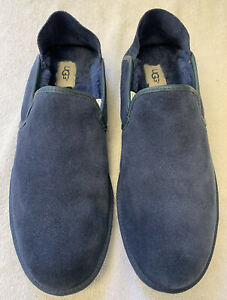 UGG COOKE SUEDE LEATHER SLIPPERS MENS SIZE 13 DROP HEEL BLUE EXCELLENT CONDITION