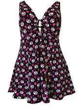 Womens Trendy Rockabilly Skull Heart Plus Size Tummy Control Swimdress Swimsuit