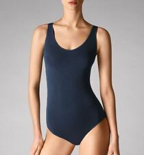WOLFORD VISCOSE STRING BODY 76050, BODYSUIT, TOP, S, in navy (5647), New in box