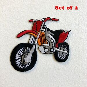 Dirt Bike Motorcross Racing Off Road Red Iron/Sew on Embroidered Patch Set of 2