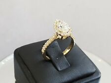 1.75CT PEAR CUT halo 14K yellow gold diamond engagement ring H SI2