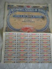 Vintage share certificate Stocks Bonds Messageries fluviales de France 1907