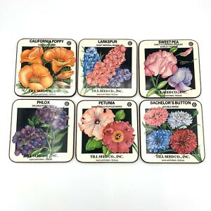 Set of 6 Pimpernel Deluxe Finish Coasters Till Seed Co. Gardener Decor Gardening