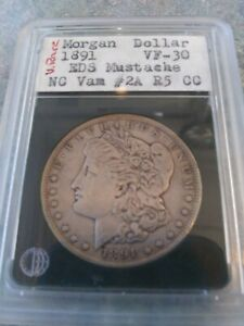 """24.Just 1891-P Vam 2A Morgan Silver Dollar """"Moustache Early Die State"""""""