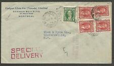 1939 Special Delivery Corner Card Cover 13c Mufti Montreal PQ Unique Glove Co