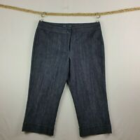 Tommy Hilfiger Womens Cropped Pants Size 14 Dark Blue Pockets Flat Front Cuffed