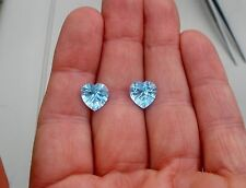 Swiss Blue Topaz Heart Laser Cut Loose Faceted Natural Gem Pair 10mm