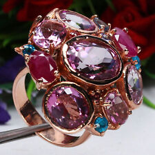 BIG! NATURAL PINK MYSTIC TOPAZ, RED RUBY & BLUE APATITE RING 925 STERLING SILVER