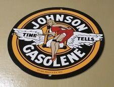 VINTAGE JOHNSON GASOLINE PORCELAIN GAS AUTOMOBILE SERVICE STATION PUMP SIGN
