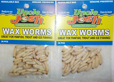 72 Uncle Josh Ice Fishing Preserved Wax Worms Crappie Bluegill Perch Bait