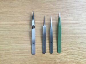 4 pairs of Swiss made precision tweezers