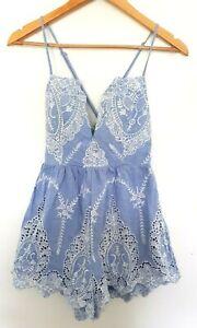 Unbranded ANGEL BIBA Women's Blue/White Embroidered Sleeveless Romper 10 EUC