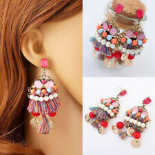 FT- Women Multilayer Tassel Faux Pearl Long Dangle Earrings Boho Ear Studs Cheap