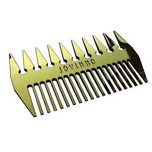 Jovinno Hair Styling Hair & Beard Comb Premium Quality Gold Metal Dual-Sided