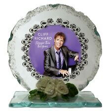 More details for sir cliff richard limited edition crystal cut glass plaque keepsake memorabilia