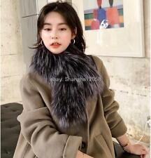 Real Genuine Silver Fox Fur Knitted scarf Soft Scarves Fur Shawls