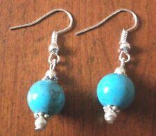 Earrings silver pearl turquoise 2,3cm
