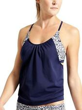 NEW Athleta 36D 36DD Dress Blue Zimbabwe Blousy Tankini Swimsuit Swim Top L