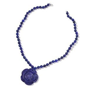 """925 Sterling Silver Lapis Lazuli Flower Statement Necklace 18"""" Jewelry Ct 171"""