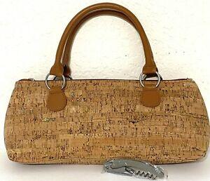 PRIMEWARE Insulated Wine Bag Clutch Tote w/ Corkscrew- Cork & Gold- Hostess Gift