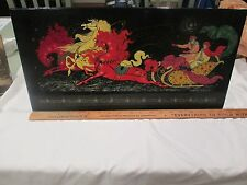 """Monumental Signed Russian Lacquer 19.5"""" Sleigh horse Plaque box lid Pohka USSR"""