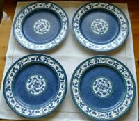 "Set of 4 Pfaltzgraff ORLEANS 7 7/8"" Salad Luncheon Plates Blue Floral Vine"