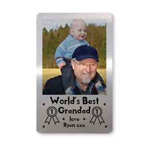 PERSONALISED Photo Metal Wallet Card Best Grandad Birthday Xmas Gift Keepsake