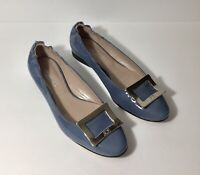 Sanfrediano Leather Periwinkle Blue W/Silver Shoes Flats Size 37 Made In Italy