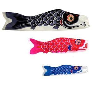 "SET of 3 Japanese Windsock 39.5"" 31.5"" 19.5"" Black Red Blue Koinobori NYLON Koi"