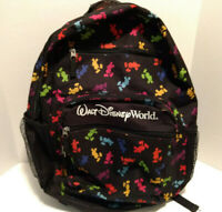 Walt Disney World Parks Authentic Multicolor Mickey Mouse Black Backpack 19x16