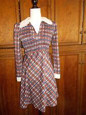 Mandy Designs Montreal Vintage Dress Mini  70's Collar Plaid Ruched M