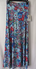 LuLaRoe Maxi Skirt Fold Down Waist Blue and Red Floral Print Size XS #5423