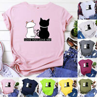 Women Summer Cute Cats Printed Funny T Shirt  Casual Short Sleeve Top Blouse NEW