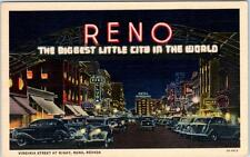 "RENO, Nevada  NV   ""The Biggest Little City in the World""  Night Neon  Postcard"