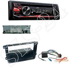 JVC KD-R492 CD/USB Radio + VW Touran T5 Multivan Blende Quadlock ISO Adapter